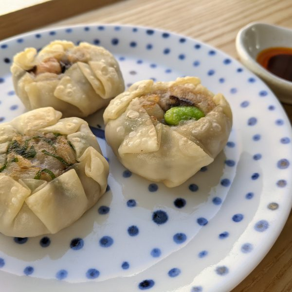 里芋の海老葱焼き餃子