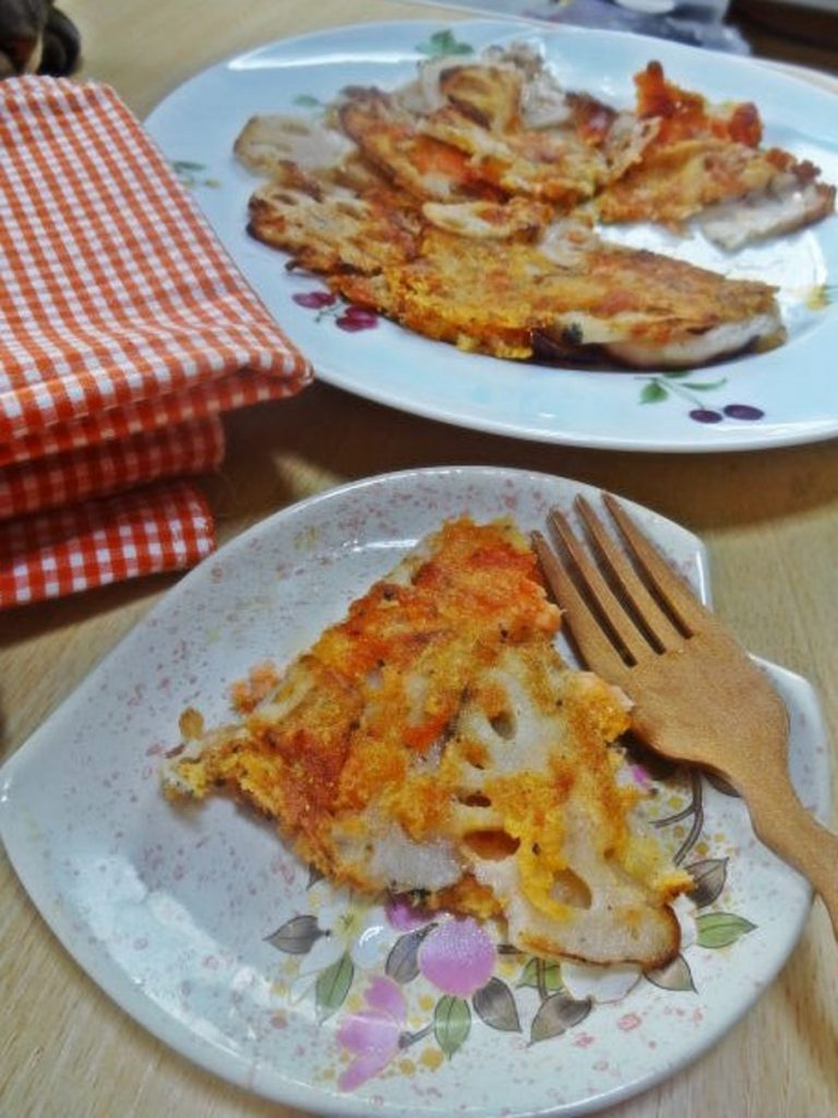 蓮根と鮭のチーズガレット
