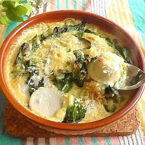 里芋とほうれん草のカレー風味グラタン