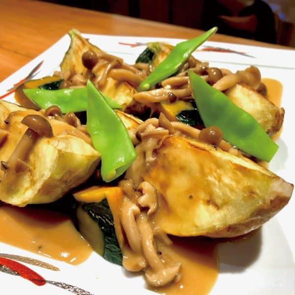 米ナスとカボチャの唐揚げ西京みそソース