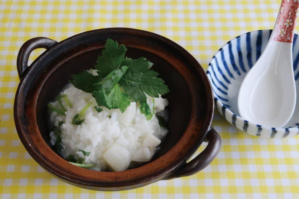 根菜とミツバのおかゆ